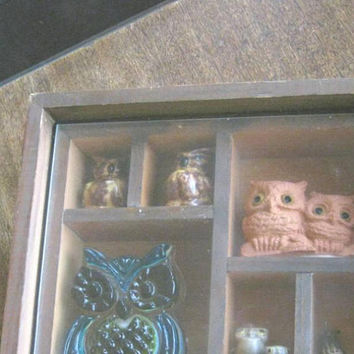 Unique Handmade Shadow Box w/ Owl Collection; Retro '70s Vintage Dark Wood Box w/ Blue Glass Owl, Cute Ceramic Owls, Clay Owls; OOAK