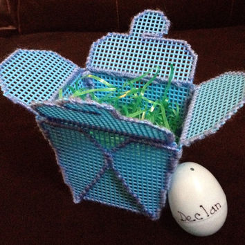 Blue Plastic Canvas Takeout Box with Matching Personalized Easter Egg