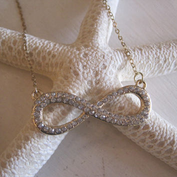 Large Gold Rhinestone Infinity Necklace - Infinity - Rhinestone Infinity Necklace