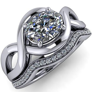 Hekate Oval Moissanite 4 Prong Triple Infinity Engagement Ring