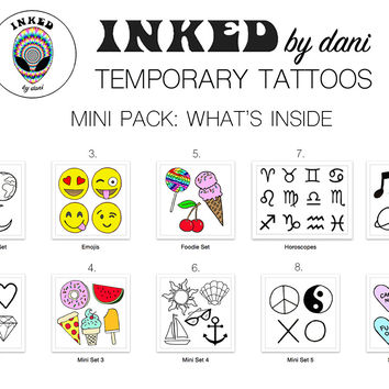 INKED by dani Temporary Tattoos: Mini Pack