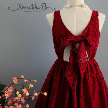A Party V Lolita Backless Dress Luxury Burgundy 3D Lace Bow Back Dress Prom Party Cocktail Dress Bow Lace Wedding Bridesmaid Dresses XS-XL