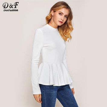 Dotfashion Ribbed Knit Ruffle Hem Peplum Woman Tee Shirt 2017 Autumn White Crew Neck Top Long Sleeve Zip Casual T shirt