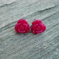 Dark Hot Pink Rose Post Stud Earrings by InkandRoses13