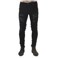 Streetwear new men's jeans ripped jeans for men skinny Distressed slim famous brand designer biker hip hop swag black