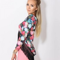 LOVE Black Floral V Neck Dipped Hem Fringed Top