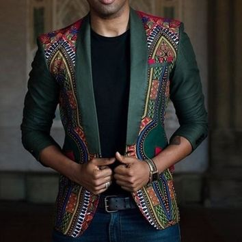 Swagger Dynasty's New African Men's Fashion Dashiki Cardigan Jacket Long Sleeve Printed Coat
