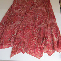 Pixie Red Skirt Sheer Skirt Sz 14 Womens clothing Skirts Sheer Skirt Boho Trending Clothes Red Paisley Print skirt Bohemian Skirt