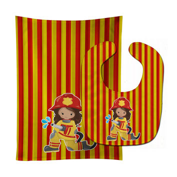 Fireman Girl Baby Bib & Burp Cloth BB7001STBU