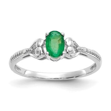10k White Gold Oval Genuine Emerald Diamond Hearts Ring