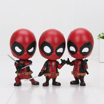 Deadpool Dead pool Taco 10cm  Bobble-Head Action Figure 1/10 scale painted figure Cute Fighting Ver.  Doll PVC ACGN figure Anime AT_70_6