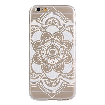 Carved Mandala Pattern Flower White TPU Soft Case Skin Cover For iphone 6s 4.7Inch Casual [7939857095]