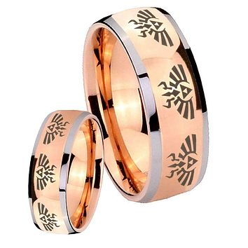 His Hers Rose Gold Dome Eight Zelda Design Two Tone Tungsten Wedding Rings Set