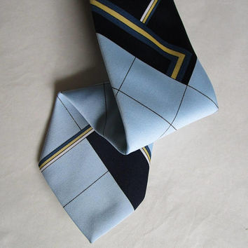 Vintage Pierre Cardin 70s Tie Blue Cream Diamond Stripe 1970s Mens Designer Wide Funky Necktie