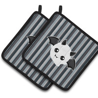 Halloween Ghost Bat Pair of Pot Holders BB6964PTHD