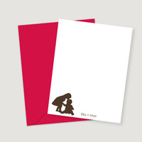 Silhouettes Custom Flat Cards for Siblings
