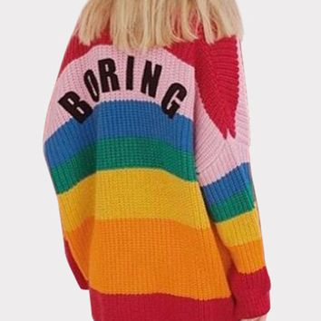 Polychrome Rainbow Letter Patch Chunky Long Sleeve Cardigan