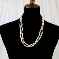 Faux Freshwater Pearl Necklace Coral n Gold Beads 24 in Double Stranded
