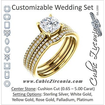 CZ Wedding Set, featuring The Isidora engagement ring (Customizable Cushion Cut Center with Wide Triple Pavé Band)