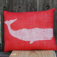 Summer Pillow, Beach House Pillow, Whale Pillow, Coral Burlap Pillow, Nautical Pillow,Decorative Pillows,Accent Pillows,Throw Pillow,Cushion | Toad Hollow
