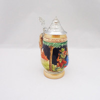 Vintage German Beer Stein, Barrel Beer Mug/Stein, German Lidded Beer Stein