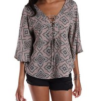 Mauve Combo Lace-Up Paisley Print Poncho Top by Charlotte Russe