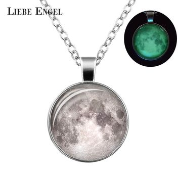 Glowing in the Dark Galaxy Moon Pendant  Moon Necklaces