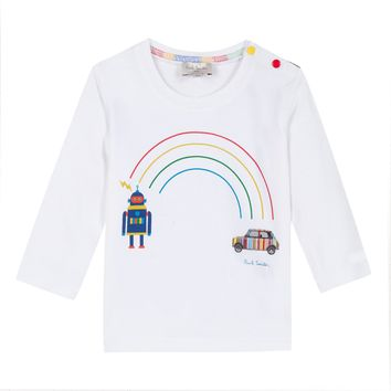 PAUL SMITH JUNIOR - Santo Baby Long Sleeve T-Shirt Top With Robot, White