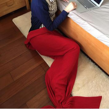 Knitted Mermaid Sofa Blanket Autumn&Winter HEAVY HIGH QUALITY Red