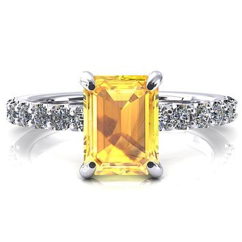 Alessi Emerald Yellow Sapphire 4 Claw Prong 3/4 Micro Pave Engagement Ring