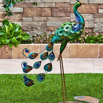 Colorful Metallic Flamingo Peacock Rooster Owl Metal Garden Statue Lawn Yard  Outdoor Decor