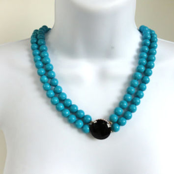 Vintage Turquoise Black Necklace Hong Kong