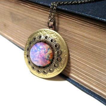 Vintage Pink Harlequin Opal Brass Floral Etched Locket - 32mm - Photo Locket - Antiqued Brass - Raw Brass - Solid - New old stock