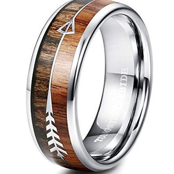 CERTIFIED 8MM Arrow Tungsten Ring for Men Wedding Band Wood Ring