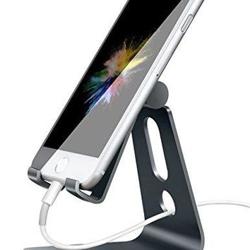 Cell Phone Stand Adjustable, Lamicall iPhone Stand : [UPDATE VERSION] Cradle, Dock, Holder For Switch, iPhone 7 8 X 6 6s Plus 5 5s 5c charging, Accessories Desk, all Android Smartphone - Gray