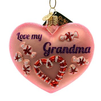 Old World Christmas Grandma Heart Glass Ornament
