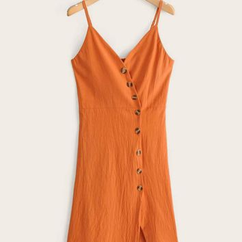 Button Front Shirred Back Cami Dress