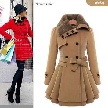In Stock New Winter Coat Women Fashion Double Breasted Thicken Slim Long Style Wool Blends Coats With Belt Ae Me 172 2016