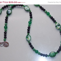 33%OFF Green Ovals and Black Pearl Necklace