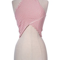 Sexy Sleeveless MockNeck Striped Jagged Hem Halter Cropped Tank Top Shirt