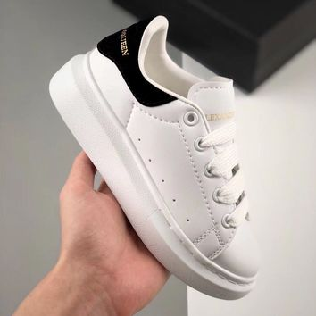 Alexander McQueen White Black Toddler Kid Shoes Child Sneakers - Best Deal Online