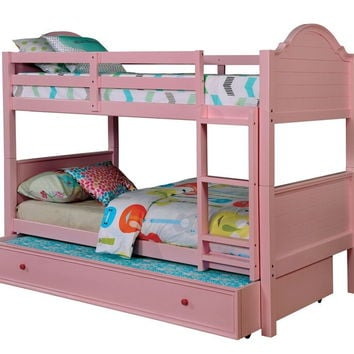 Furniture of america CM-BK920PK Denise collection pink finish wood twin over twin paneled headboards bunk bed set