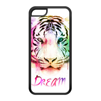 Watercolor Tiger 1 Black Silicon Rubber Case for iPhone 5C by Gangtoyz