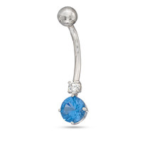 014 Gauge Blue and White Cubic Zirconia Belly Button Ring in 10K White Gold - - View All - PAGODA.COM