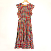 Girly Checked Dress, Cute Colorful Tartan Dress With Ruffles For Women, Summer Dress With Belt, V-neck, Size 36, Made in Finland