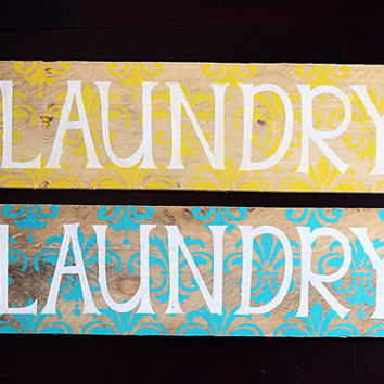 Laundry Damask Wooden Sign - Aqua
