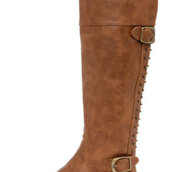 Not Rated Frontline Tan Studded Knee High Riding Boots