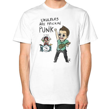 Ukuleles are frickin punk Unisex T-Shirt (on man)