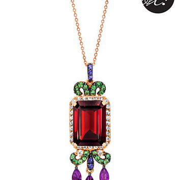 Levian 14 Kt. Strawberry Gold Multi Semi Precious Stone Pendant Necklace