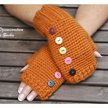 Orange Fingerless mittens with bottons, Fingerless mittens ,  gloves, hand knit fingerless mittens, fingerless gloves, knit gloves